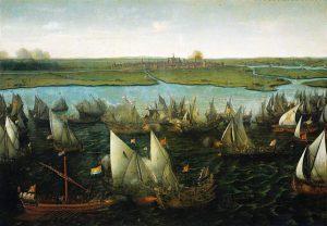 Die skildery van HC Vroom toon die Slag van Haarlemmermeer op 26 Mei 1573, toe die Watergeuse in hul vissersbote die Spaanse galjoene aangepak het. Hulle het die Rooms-Katolieke vreemdelinge oorweldig en uiteindelik uit hul vaderland verdryf. Hul geloof en samewerking het deursalg tot hul oorwinning gegee. Die slagspreuk van die Zuid-Afrikaansche Republiek van Paul Kruger was Eendragt Maakt Mag. Dit was ook die slagspreuk van die Watergeuse. Die kunswerk hang in ndie Rijksmuseum in Amsterdam